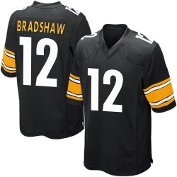 Terry Bradshaw Pittsburgh Steelers Men's Game Team Color Nike Jersey - Black